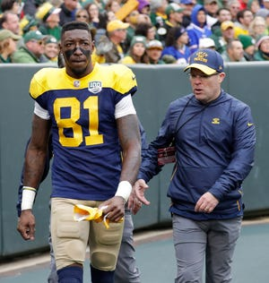 Green Bay Packers wide receiver Geronimo Allison (81) leaves the field after getting injured against the Buffalo Bills during their football game Sunday, Sept. 30, 2018, at Lambeau Field in Green Bay, Wis. Dan Powers/USA TODAY NETWORK-Wisconsin