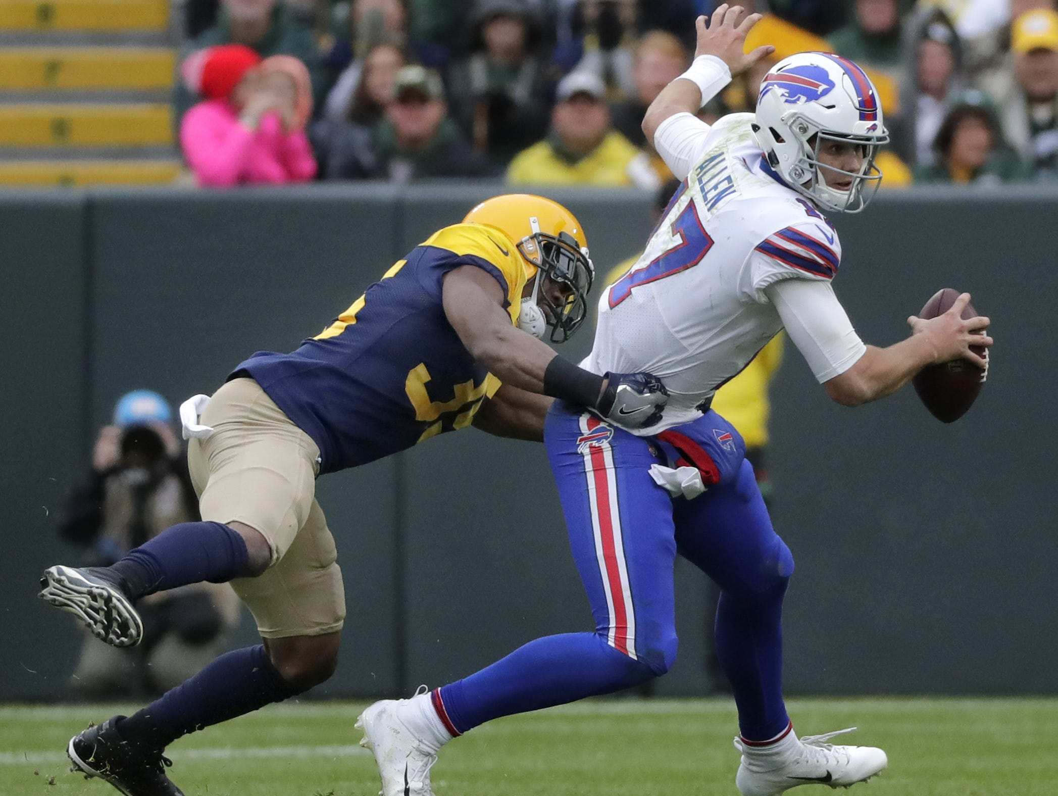 Green Bay Packers defensive back Jermaine Whitehead sacks Buffalo Bills quarterback Josh Allen on Sunday, September 30, 2018, at Lambeau Field in Green Bay, Wis.  Wm. Glasheen/USA TODAY NETWORK-Wisconsin.