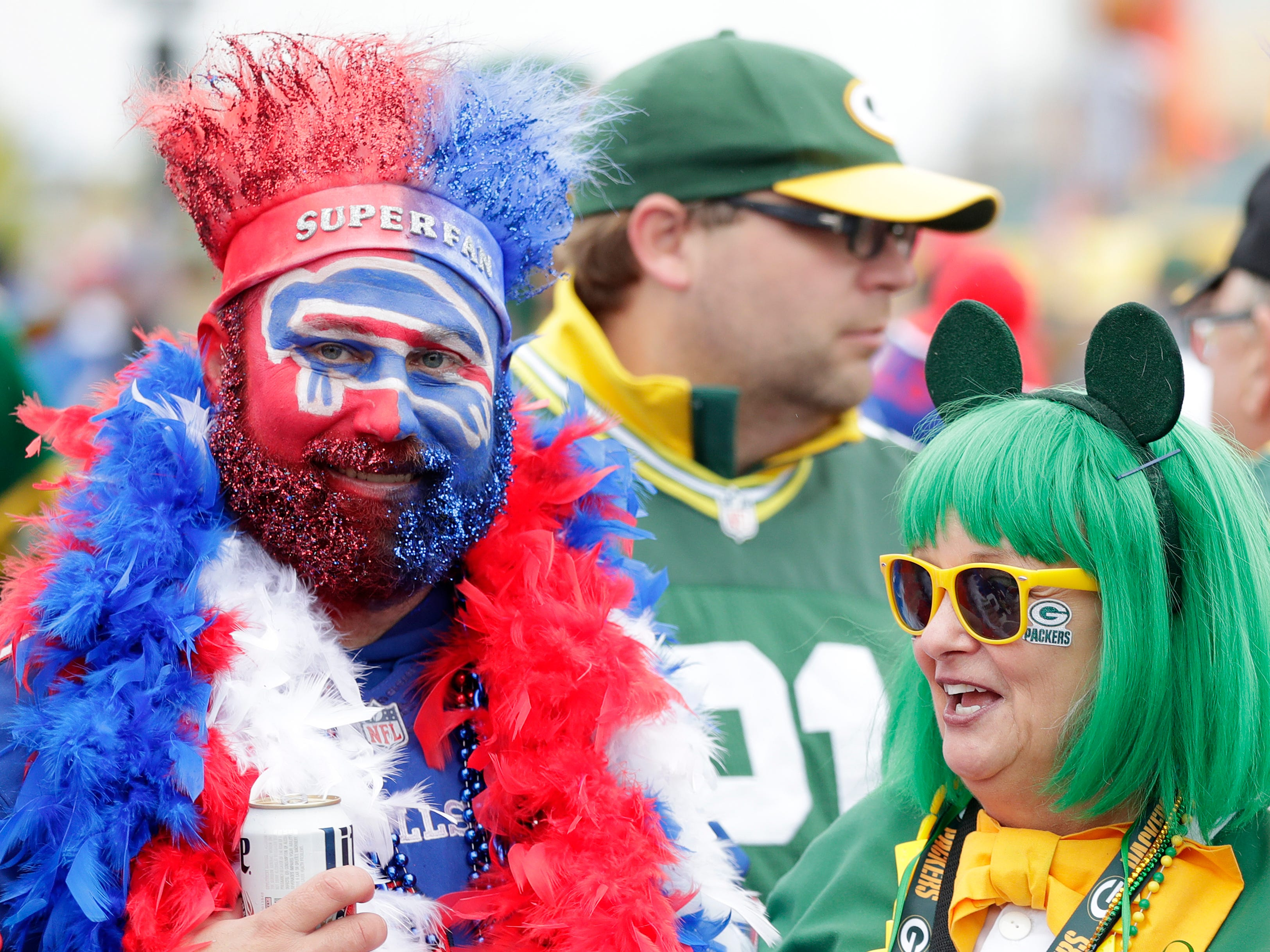 Packers and Bills super fans gather outside Lambeau Field on Sunday, September 30, 2018 in Green Bay, Wis.