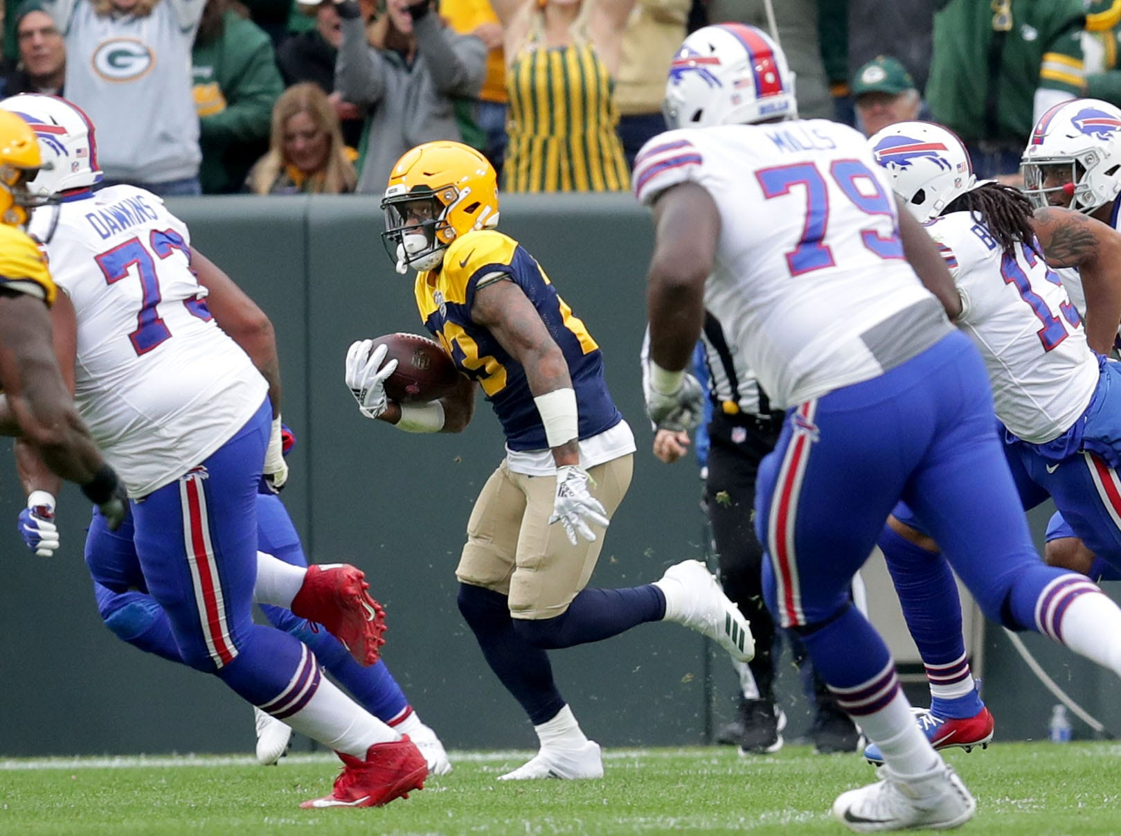 Green Bay Packers cornerback Jaire Alexander (23) runs back an interception during the second quarter of the Green Bay Packers game against the Buffalo Bills at Lambeau Field in Green Bay, Wis. on Sunday, September 30, 2018. Mike De Sisti /USA TODAY NETWORK-Wisconsin