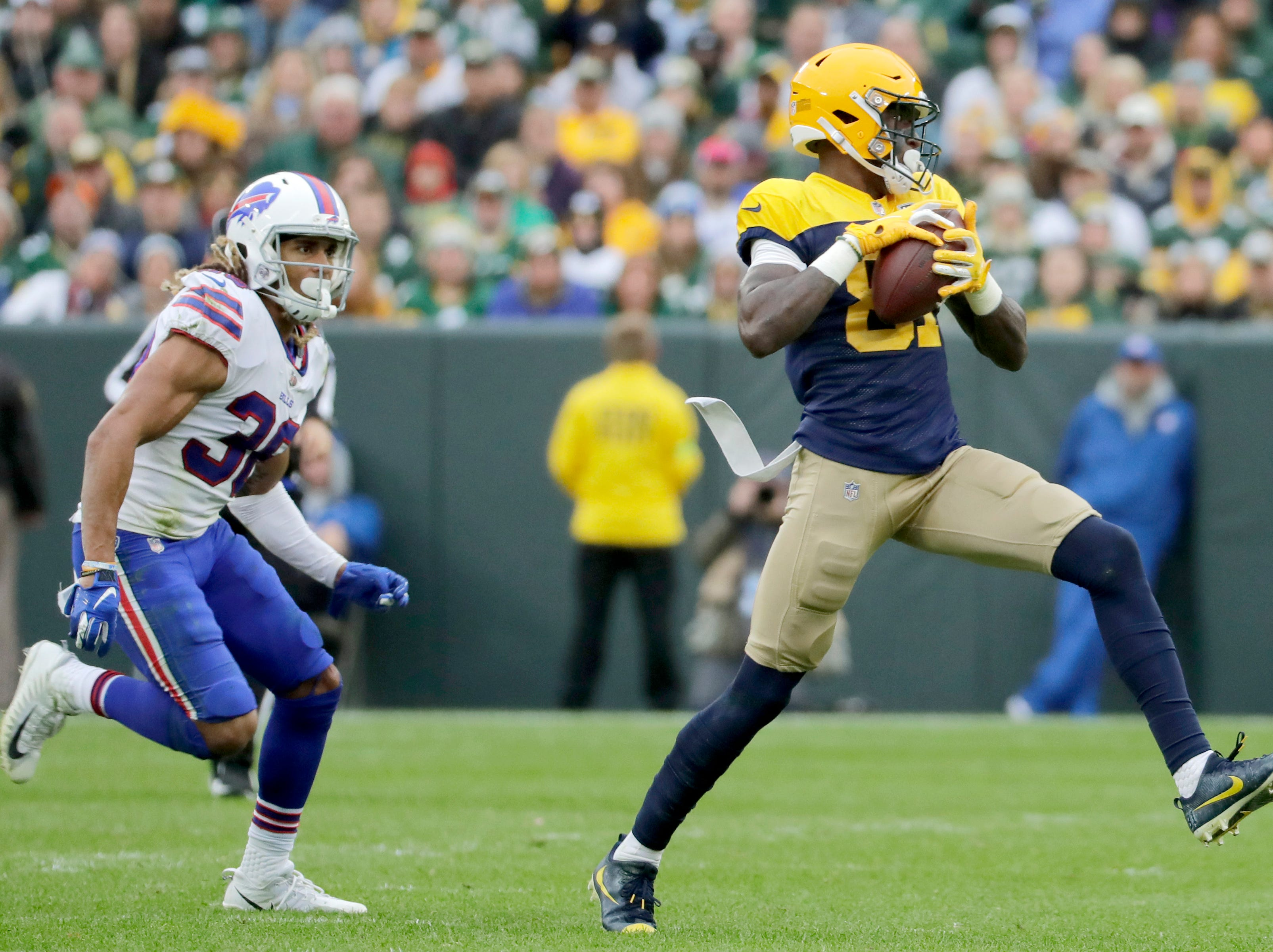 Green Bay Packers wide receiver Geronimo Allison catches a p second half passm against the Buffalo Bills on Sunday, September 30, 2018, at Lambeau Field in Green Bay, Wis. Wm. Glasheen/USA TODAY NETWORK-Wisconsin.