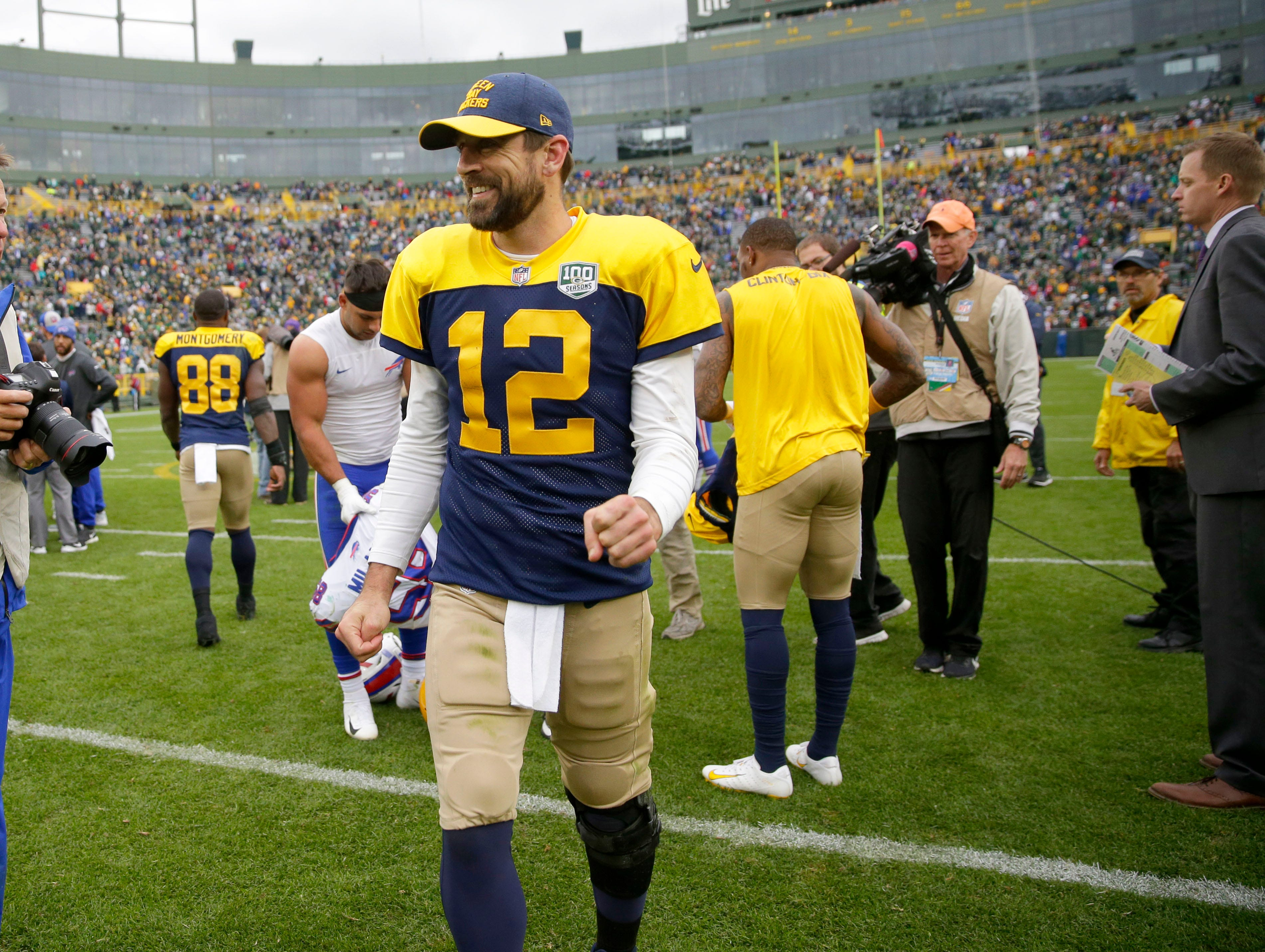 Green Bay Packers quarterback Aaron Rodgers (12) walks off the field after the Green Bay Packers 22-0 win against the Buffalo Bills at Lambeau Field in Green Bay, Wis. on Sunday, September 30, 2018. Mike De Sisti /USA TODAY NETWORK-Wisconsin