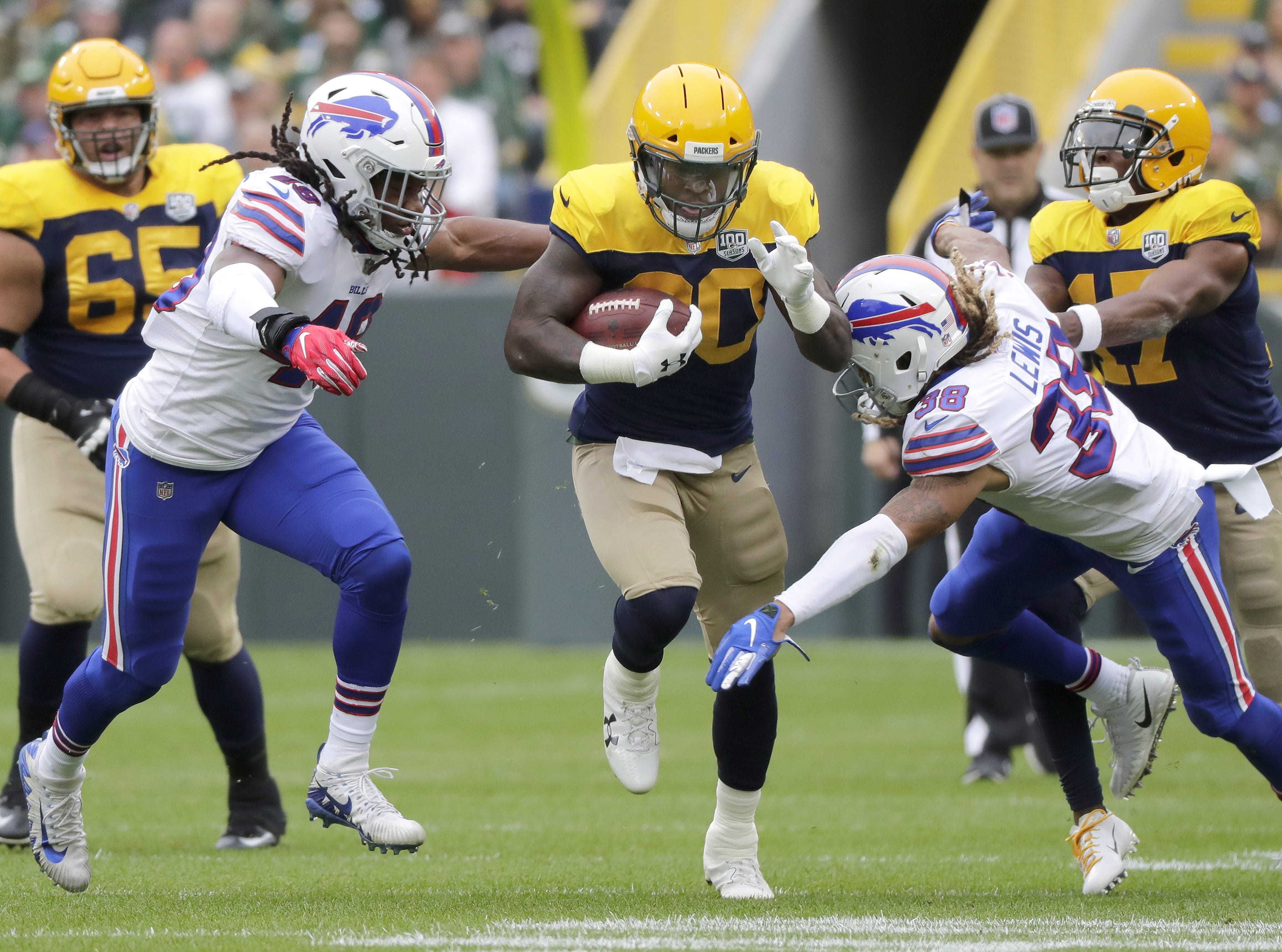 Green Bay Packers running back Jamaal Williams against the Buffalo Bills on Sunday, September 30, 2018, at Lambeau Field in Green Bay, Wis.  Wm. Glasheen/USA TODAY NETWORK-Wisconsin.