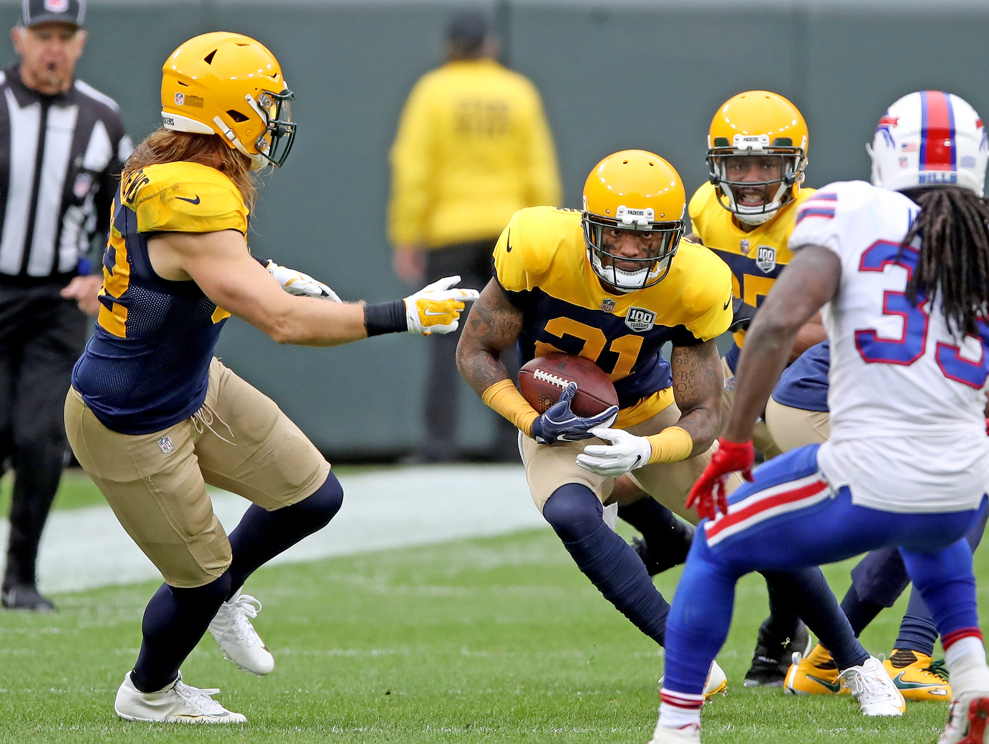 Green Bay Packers defensive back Ha Ha Clinton-Dix (21) returns his interception against the Buffalo Bills Sunday September 30, 2018 at Lambeau Field in Green Bay, Wis.