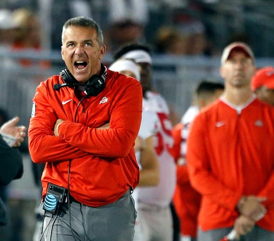 Ohio State head coach Urban Meyer, reacts after Penn State gets a first down during the first half of an NCAA college football game in State College, Pa., Saturday, Sept. 29, 2018.