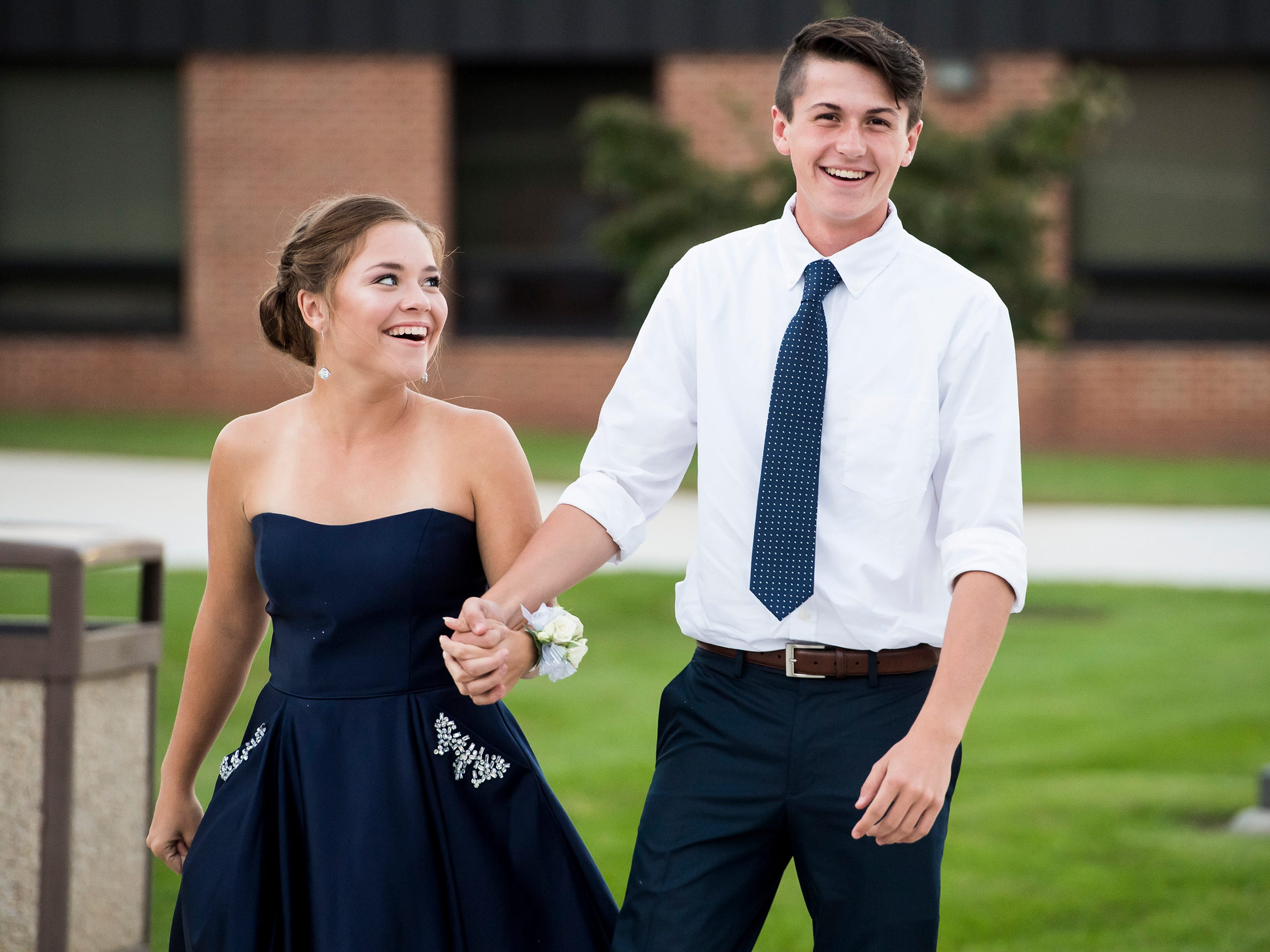 Students arrive at New Oxford High School's homecoming dance on Saturday, September 29, 2018.