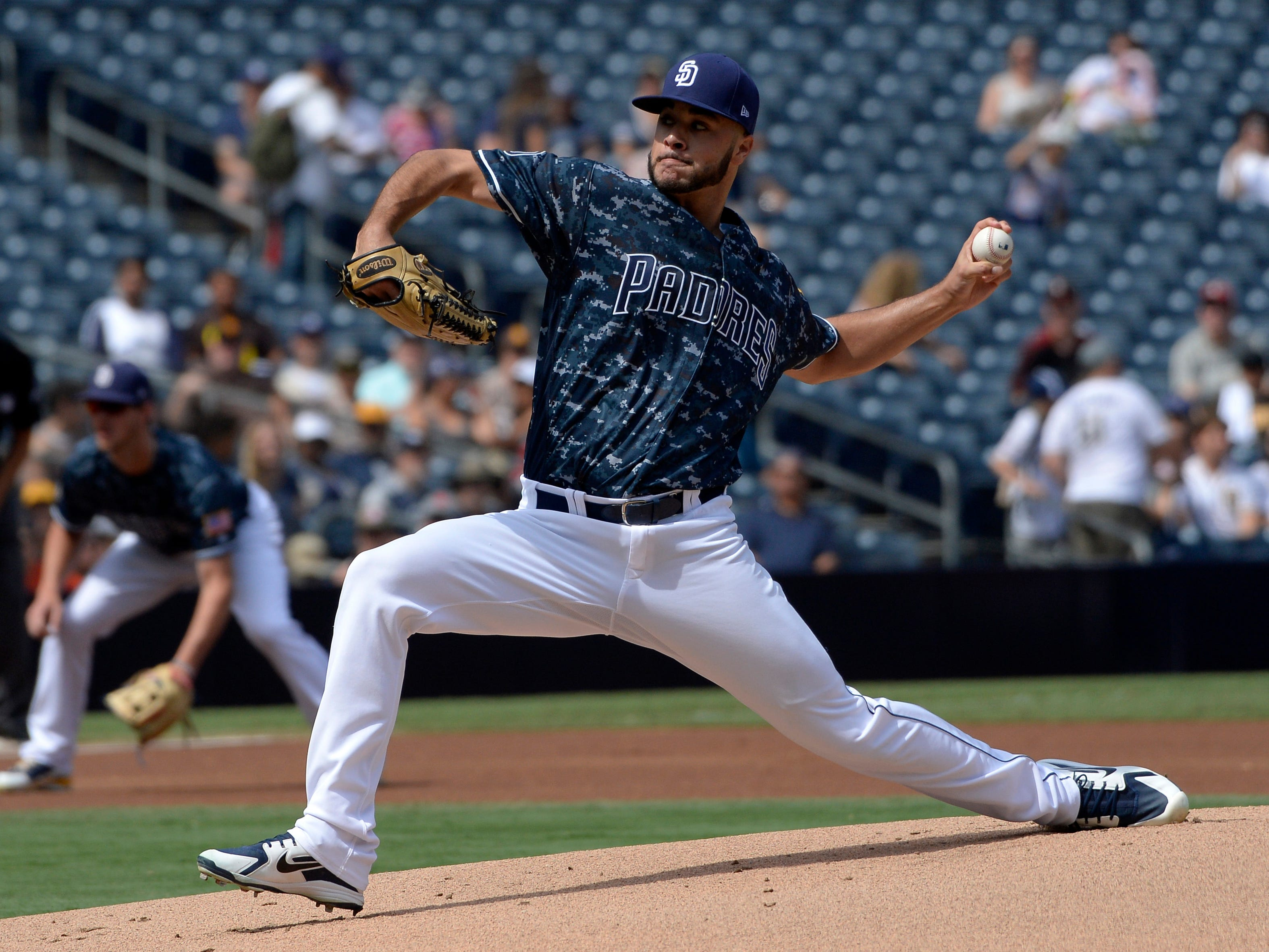 Sep 30, 2018; San Diego, CA, USA; San Diego Padres starting pitcher Joey Lucchesi (37) pitches during the first inning against the Arizona Diamondbacks at Petco Park. Mandatory Credit: Jake Roth-USA TODAY Sports