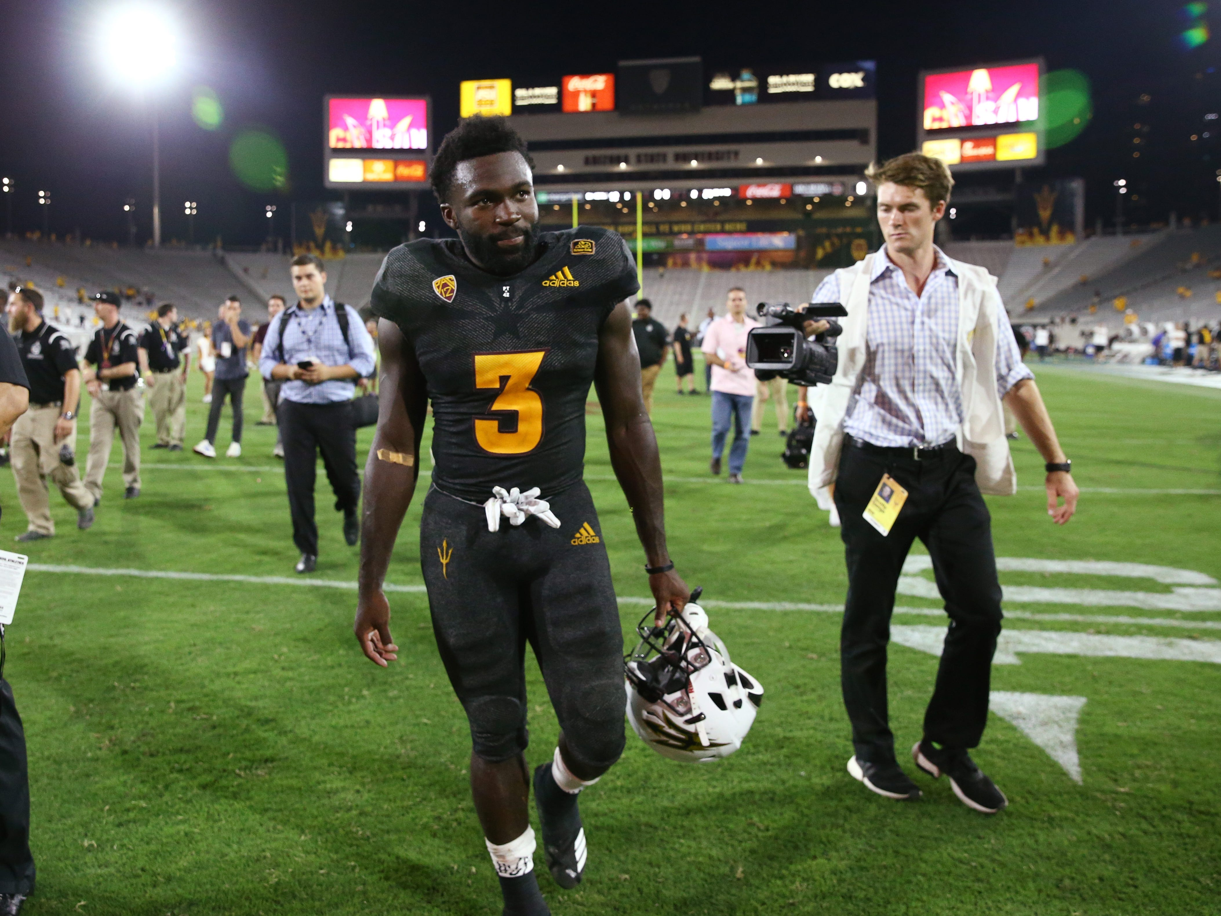 Arizona State running back Eno Benjamin after his 312-yard rushing game against Oregon State on Sep. 29, 2018, at Sun Devil Stadium.