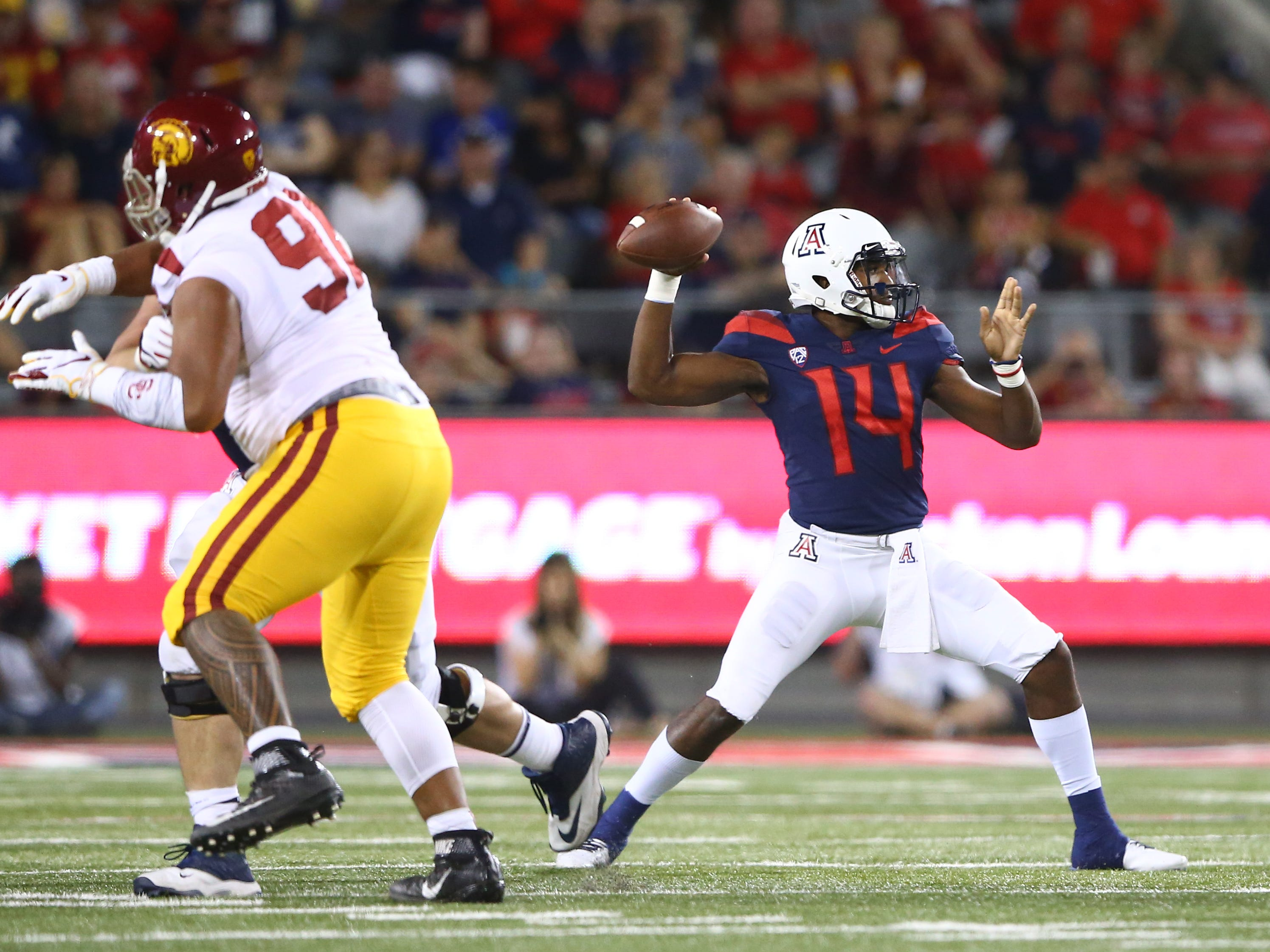 Sep 29, 2018; Tucson, AZ, USA; Arizona Wildcats quarterback Khalil Tate (14) against the Southern California Trojans in the first half at Arizona Stadium. Mandatory Credit: Mark J. Rebilas-USA TODAY Sports