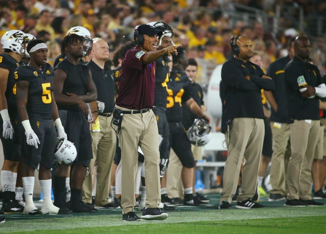 Arizona State head coach Herm Edwards against Oregon State in the second half on Sep. 29, 2018, at Sun Devil Stadium.