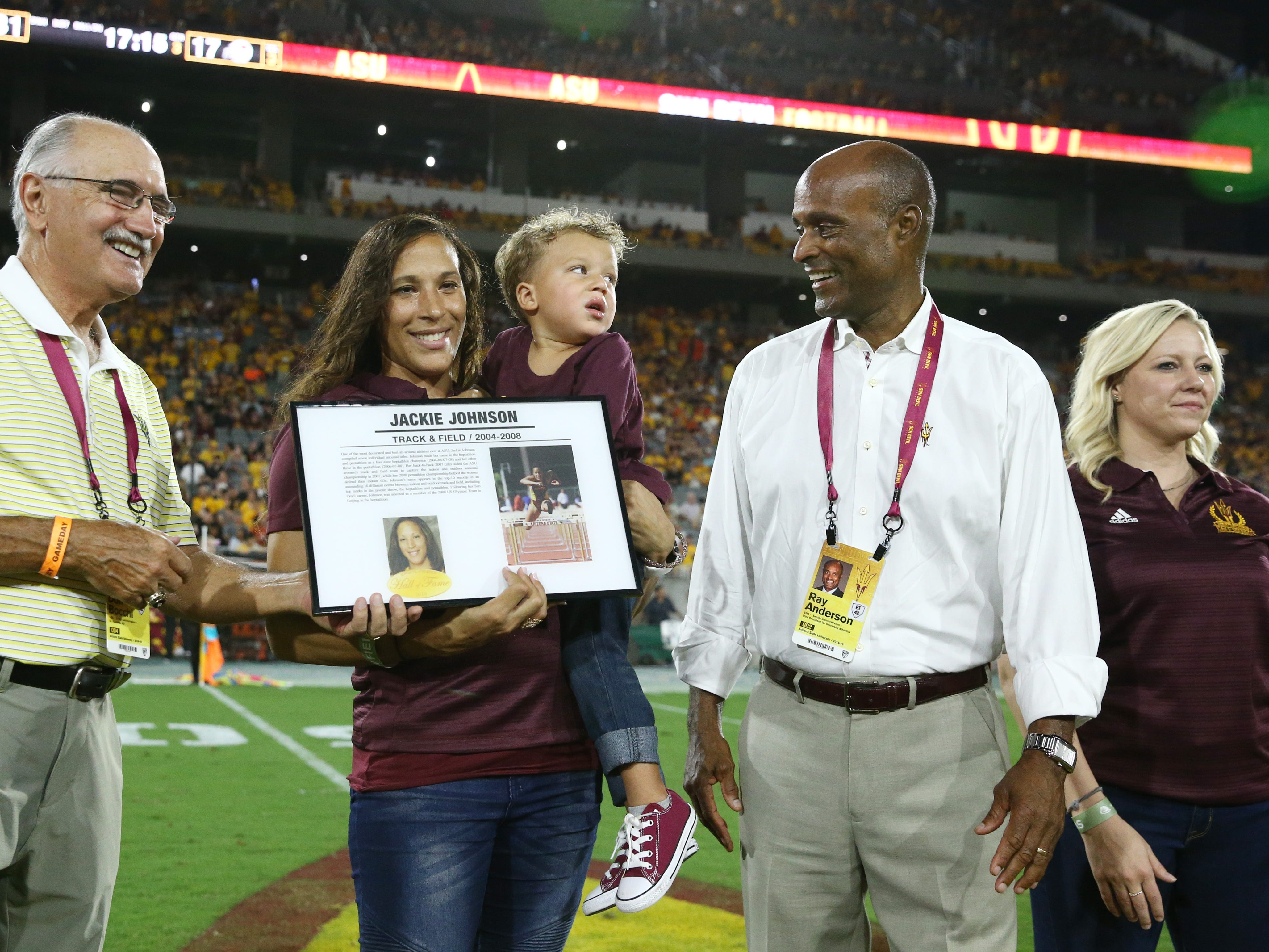 Arizona State track and field star Jackie Johnson is welcomed into the ASU Athletics Hall of Frame on Sep. 29, 2018, at Sun Devil Stadium.