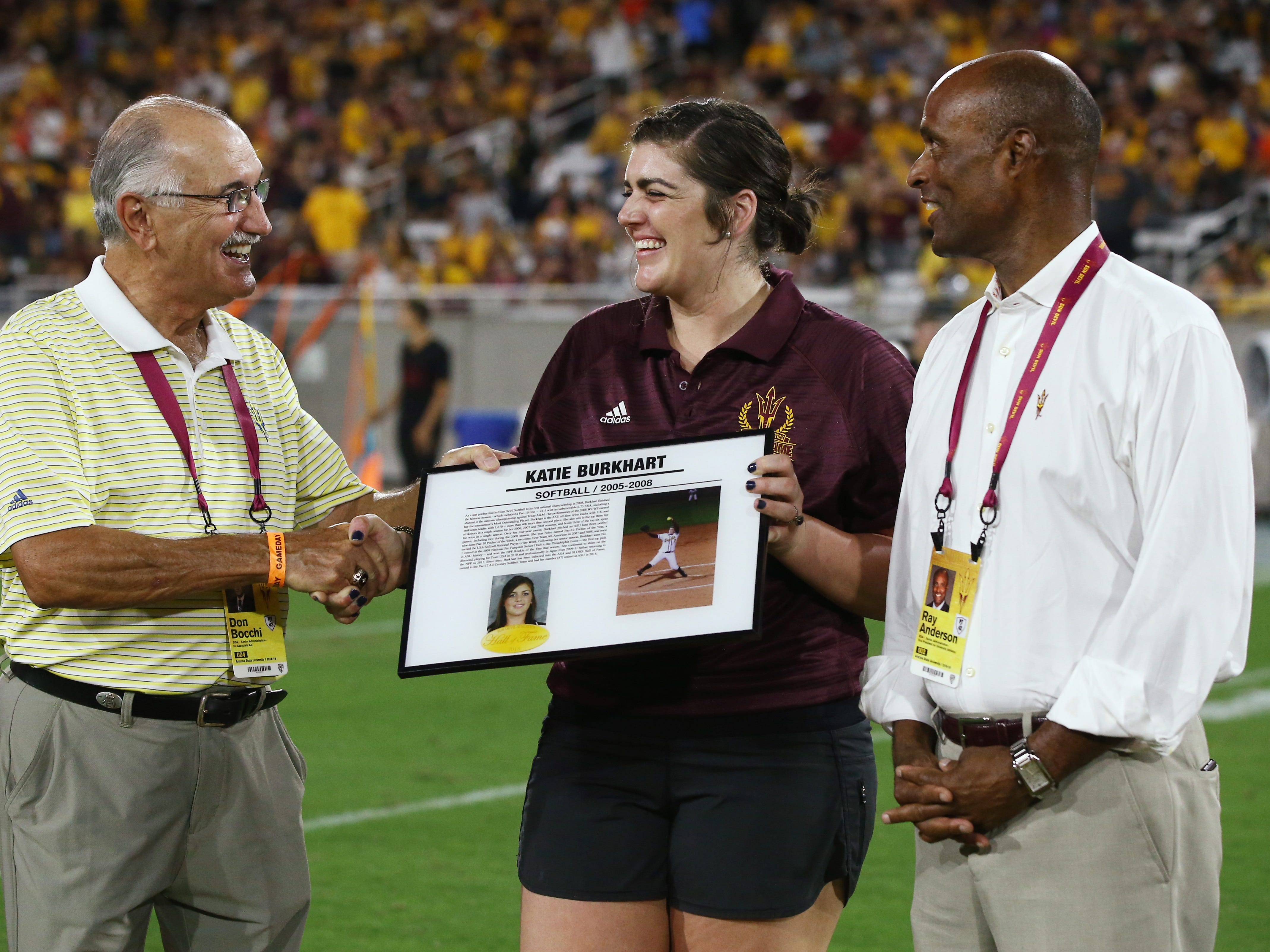 Arizona State softball player Katie Burkhart is welcomed into the ASU Athletics Hall of Frame on Sep. 29, 2018, at Sun Devil Stadium.