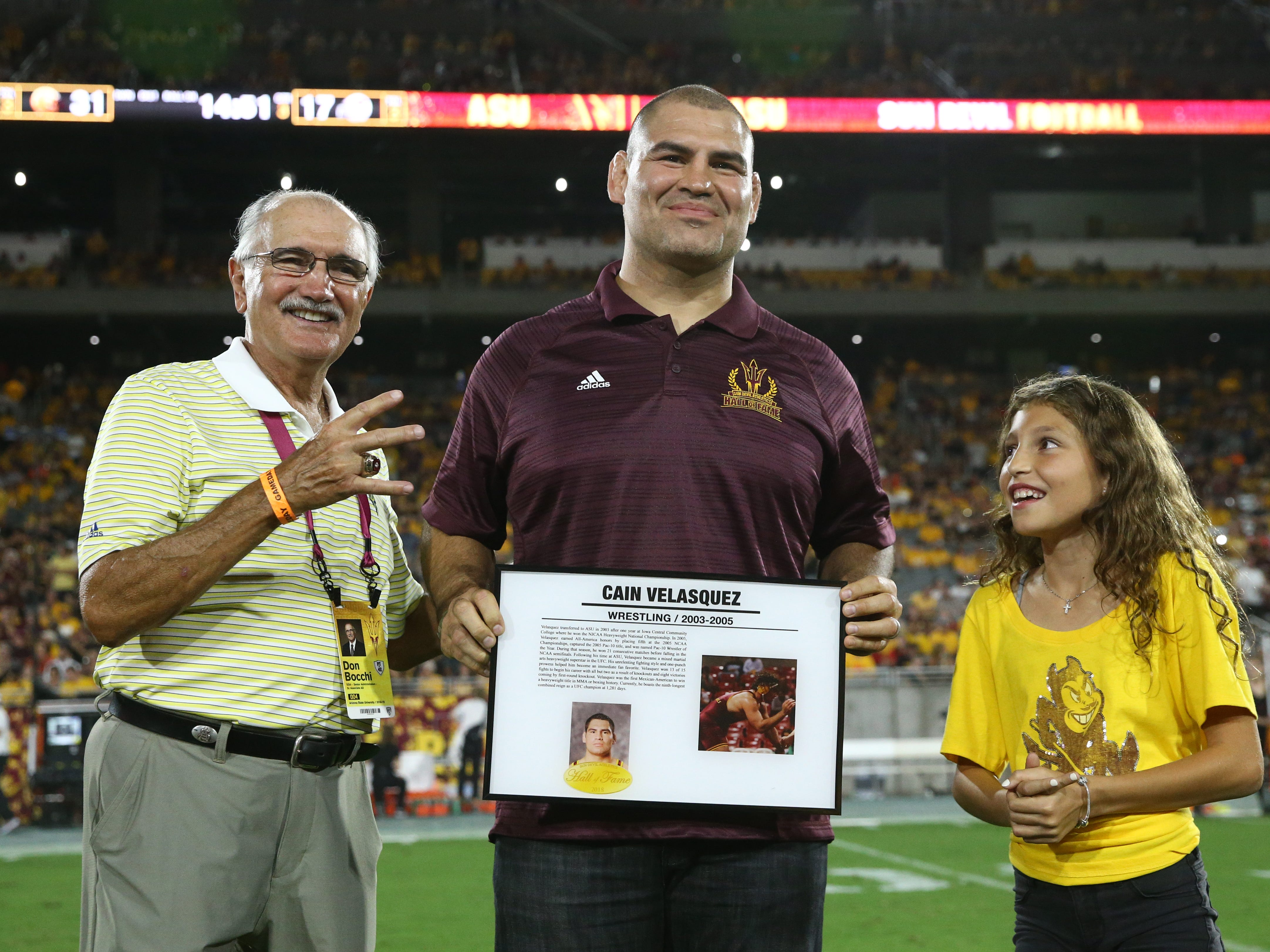 Arizona State wrestling star Cain Velasquez is welcomed into the ASU Athletics Hall of Frame on Sep. 29, 2018, at Sun Devil Stadium.
