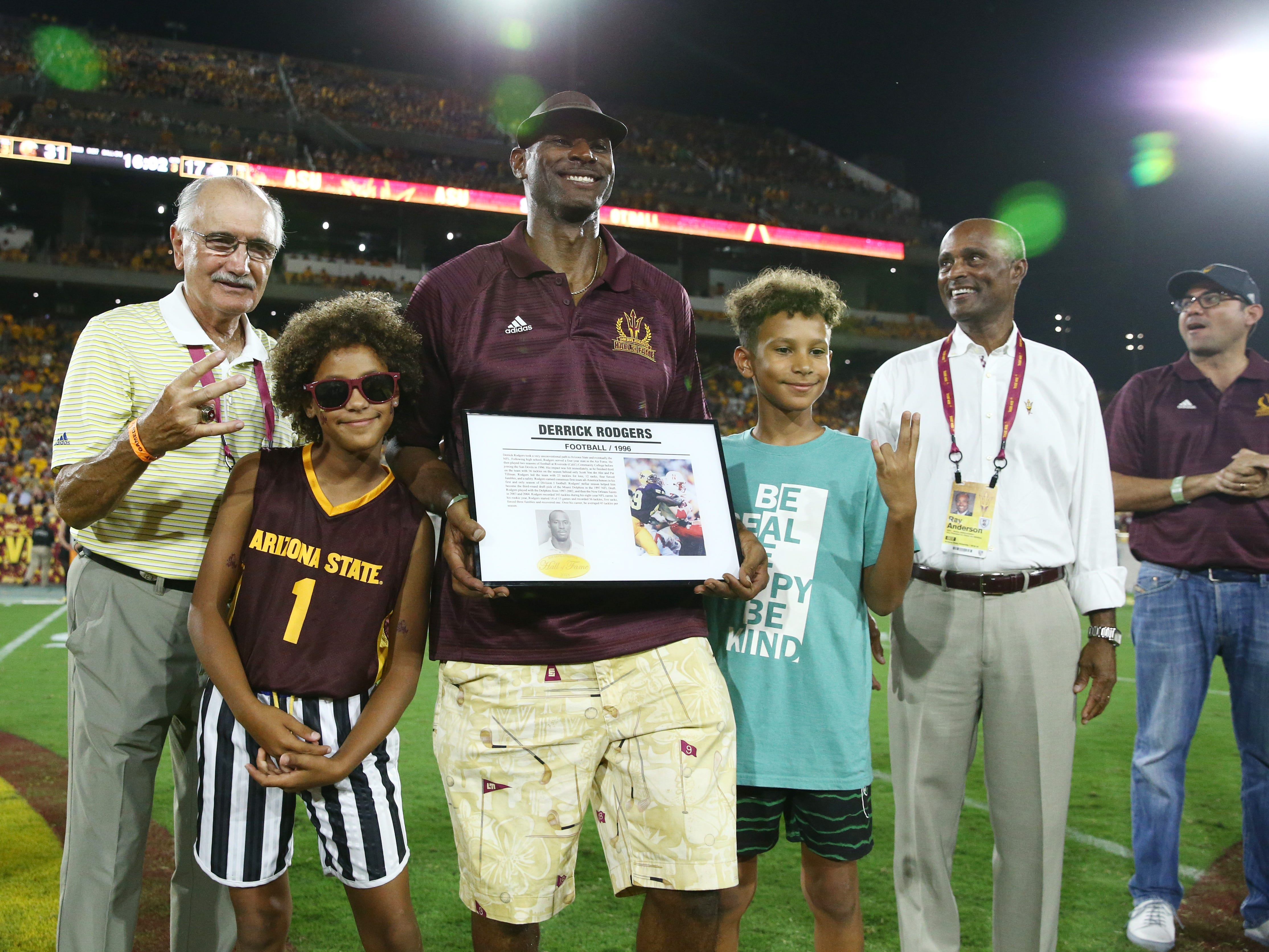 Arizona State football star Derrick Rodgers is welcomed into the ASU Athletics Hall of Frame on Sep. 29, 2018, at Sun Devil Stadium.