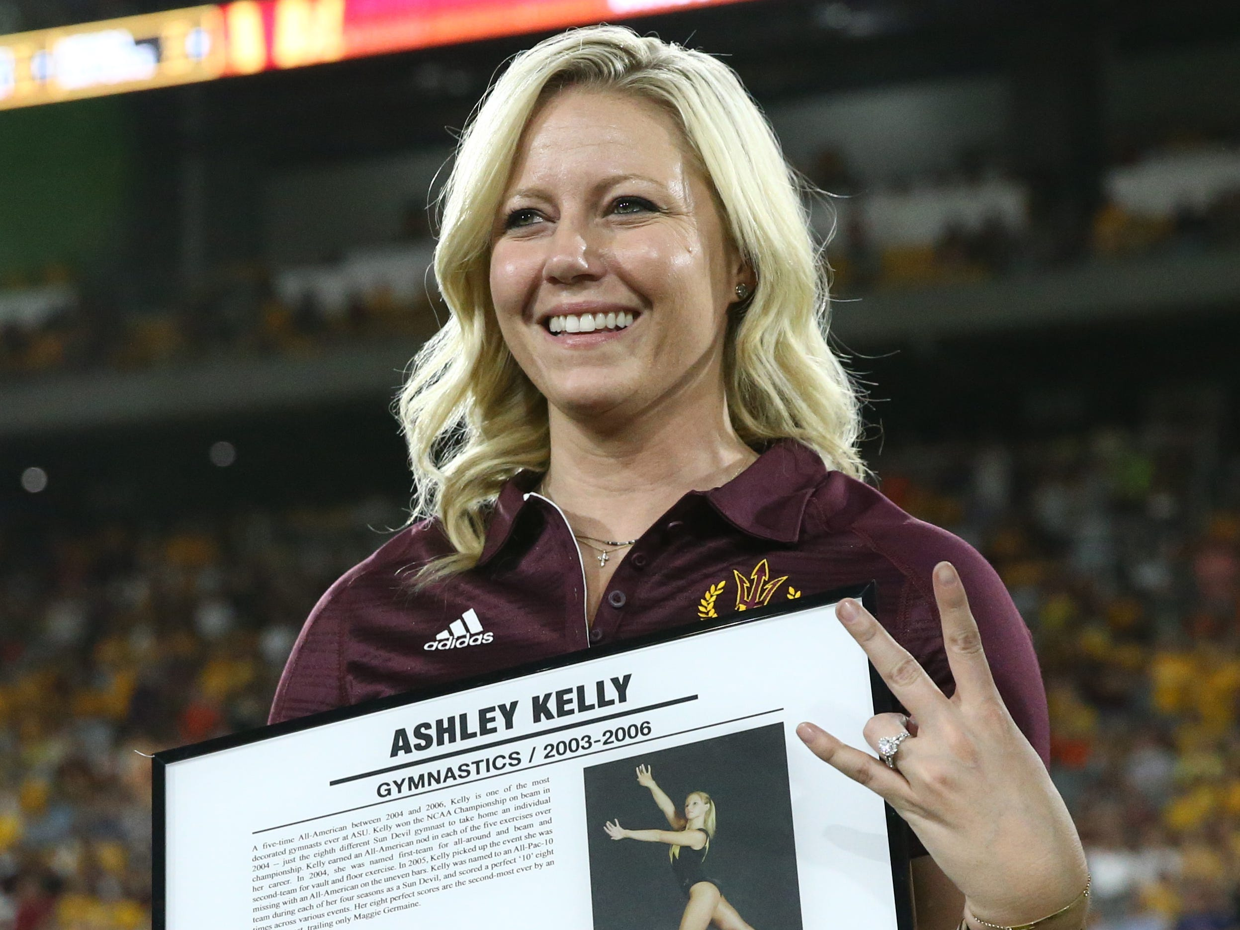 Arizona State gymnastics star Ashley Kelly is welcomed into the ASU Athletics Hall of Frame on Sep. 29, 2018, at Sun Devil Stadium.
