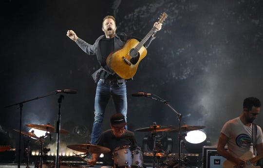 Dierks Bentley performs during his Mountain High Tour at Ak-Chin Pavilion in Phoenix on Saturday, Sept. 29, 2018.