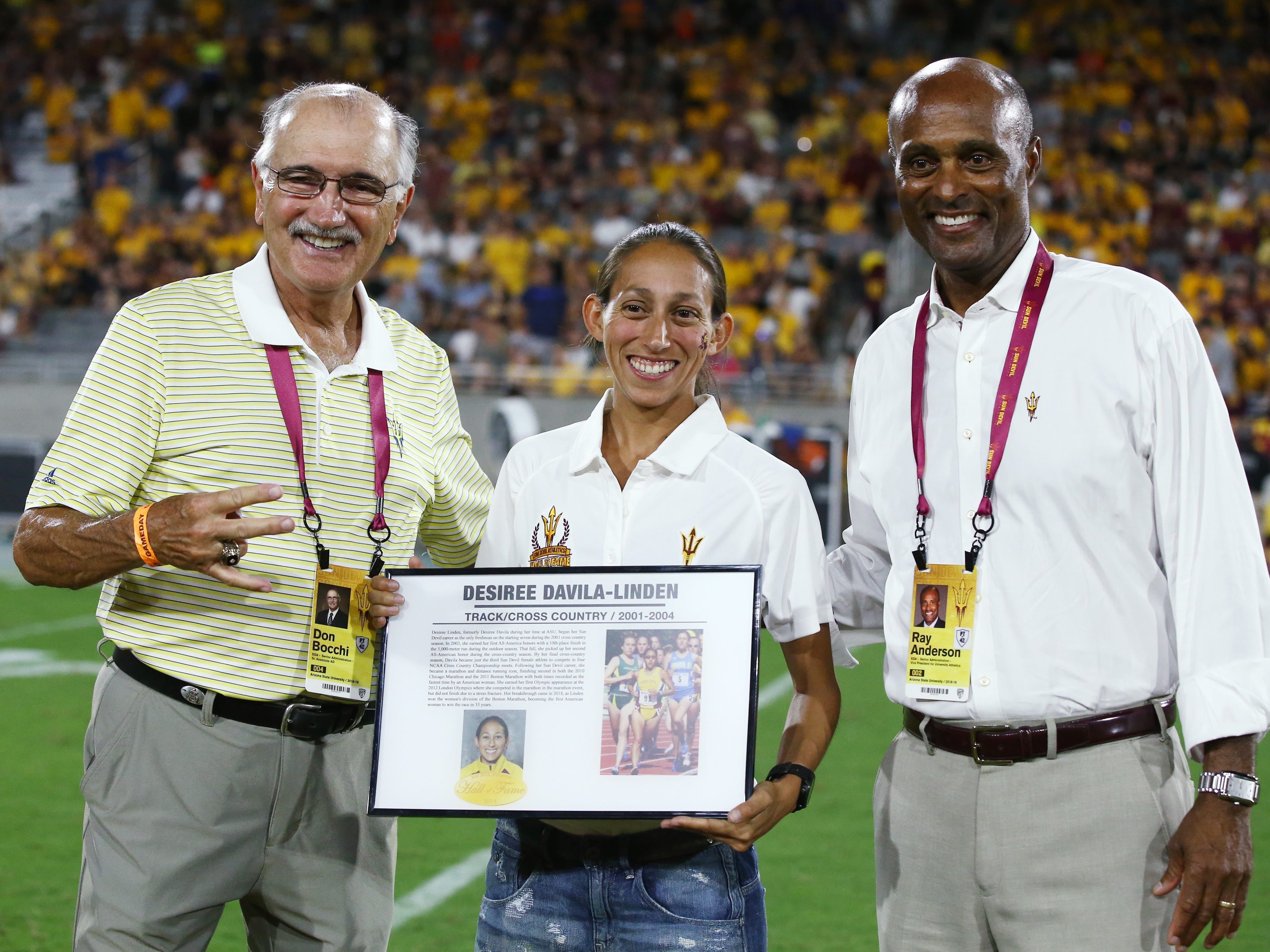 Arizona State track and cross country star Desiree Davila-Linden is welcomed into the ASU Athletics Hall of Frame on Sep. 29, 2018, at Sun Devil Stadium.