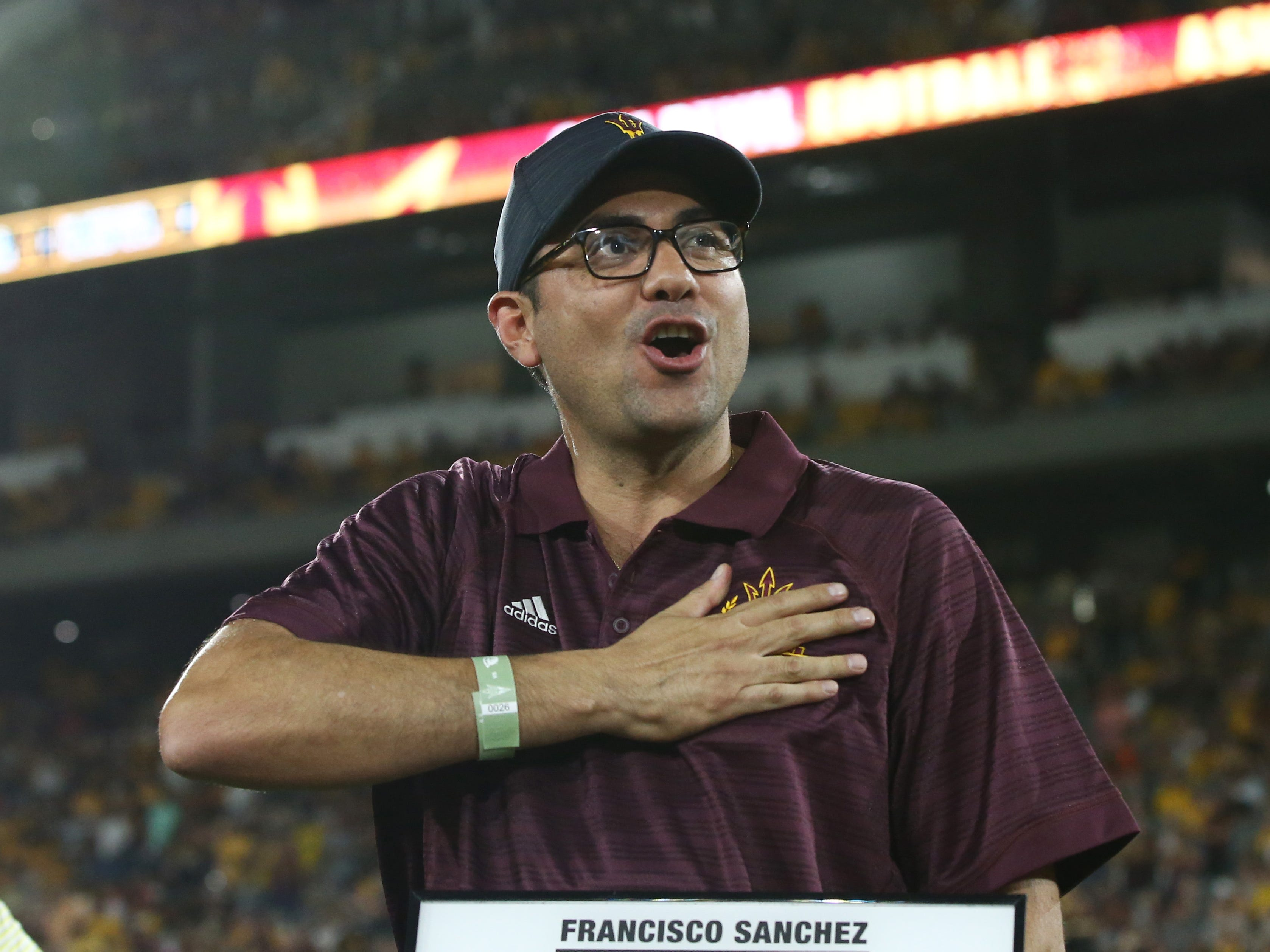 Arizona State swimming star Francisco Sanchez is welcomed into the ASU Athletics Hall of Frame on Sep. 29, 2018, at Sun Devil Stadium.