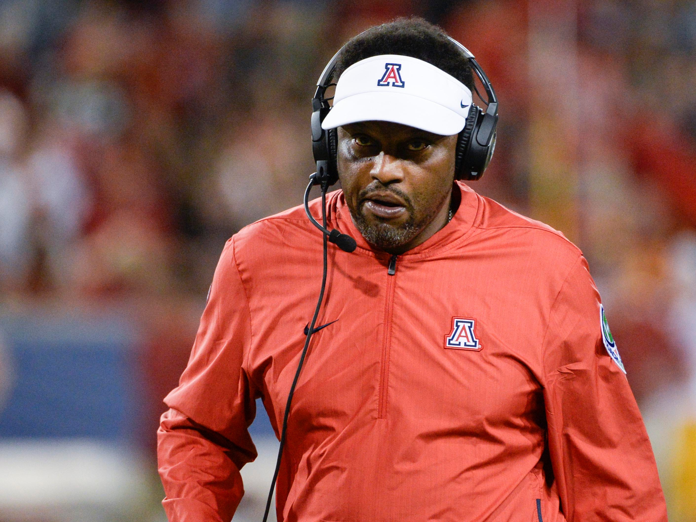 Sep 29, 2018; Tucson, AZ, USA; Arizona Wildcats head coach Kevin Sumlin walks on the sideline during the second half against the Southern California Trojans at Arizona Stadium. Mandatory Credit: Casey Sapio-USA TODAY Sports