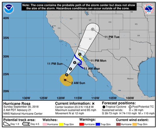 Hurricane Rosa's predicted trajectory through Arizona from the National Weather Service.