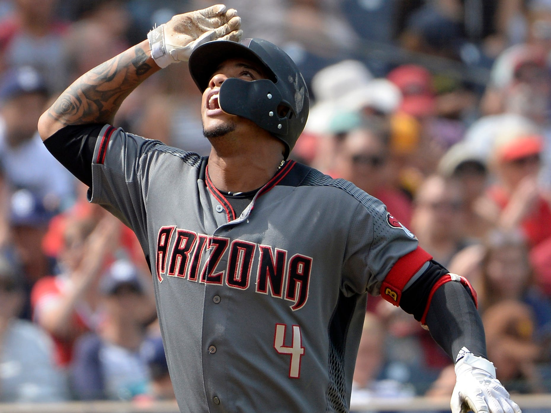 Sep 30, 2018; San Diego, CA, USA; Arizona Diamondbacks second baseman Ketel Marte (4) gestures after hitting a solo home run during the fourth inning against the San Diego Padres at Petco Park. Mandatory Credit: Jake Roth-USA TODAY Sports
