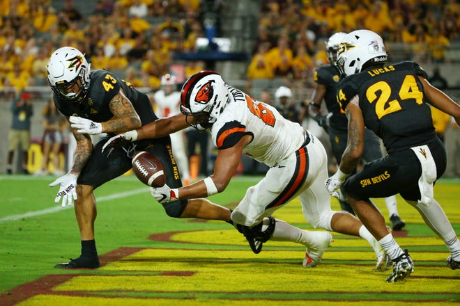 Arizona State safety Jalen Harvey breaks-up the pass in the end zone to Oregon State tight end Noah Togiai in the second half on Sep. 29, 2018, at Sun Devil Stadium.