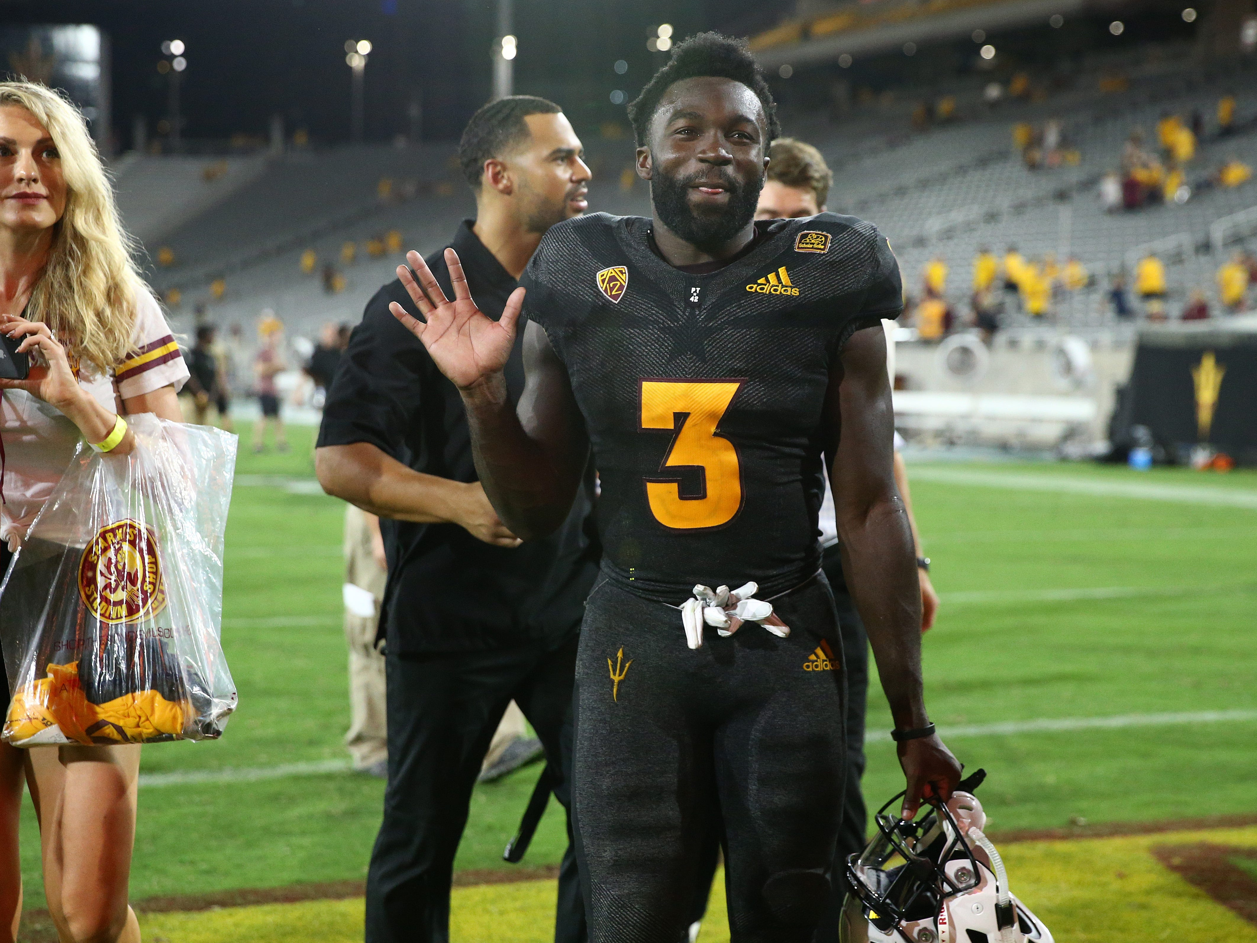 Arizona State running back Eno Benjamin smiles after his 312-yard rushing game against Oregon State on Sep. 29, 2018, at Sun Devil Stadium.
