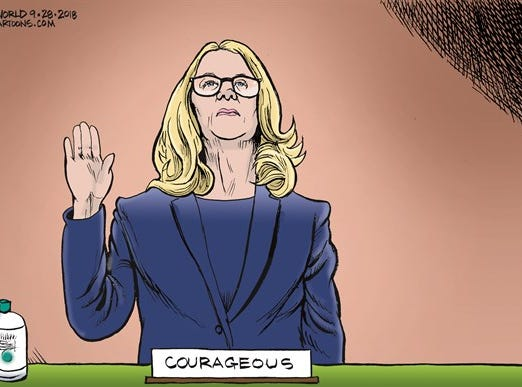 Bruce Plante Cartoon: Dr. Christine Blasey Ford, Brave, courageous, Supreme Court nominee Brett Kavanaugh, President Donald J. Trump, United States Senate Judiciary Committee, Sen. Chuck Grassley, Sen. Lindsey Graham, Senator Orrin Hatch, Republican Party, RNC, GOP, Plante 20180930