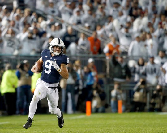 Penn State quarterback Trace McSorley (9) takes off running against Ohio State during the first half of an NCAA college football game in State College, Pa., Saturday, Sept. 29, 2018.