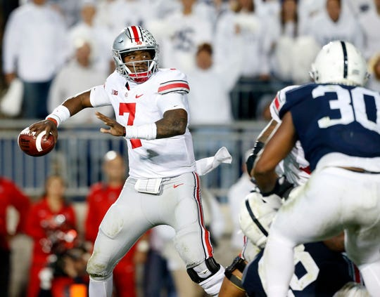 Ohio State quarterback Dwayne Haskins Jr. (7) throws a pass against Penn State during the second half of an NCAA college football game in State College, Pa., Saturday, Sept. 29, 2018. Ohio State won 27-26.