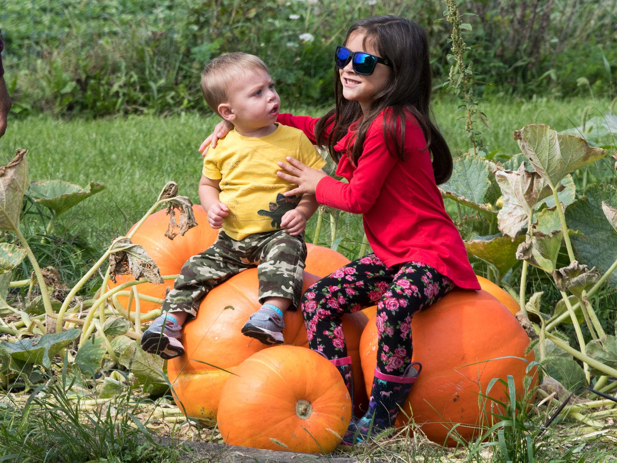 Axel, left, 1 and Mya Ross, 6, both of Dillsburg, set up for a photo moment at Paulus Orchards in Monaghan Township on Sunday. The farm offers a variety of fall activities plus a market store.