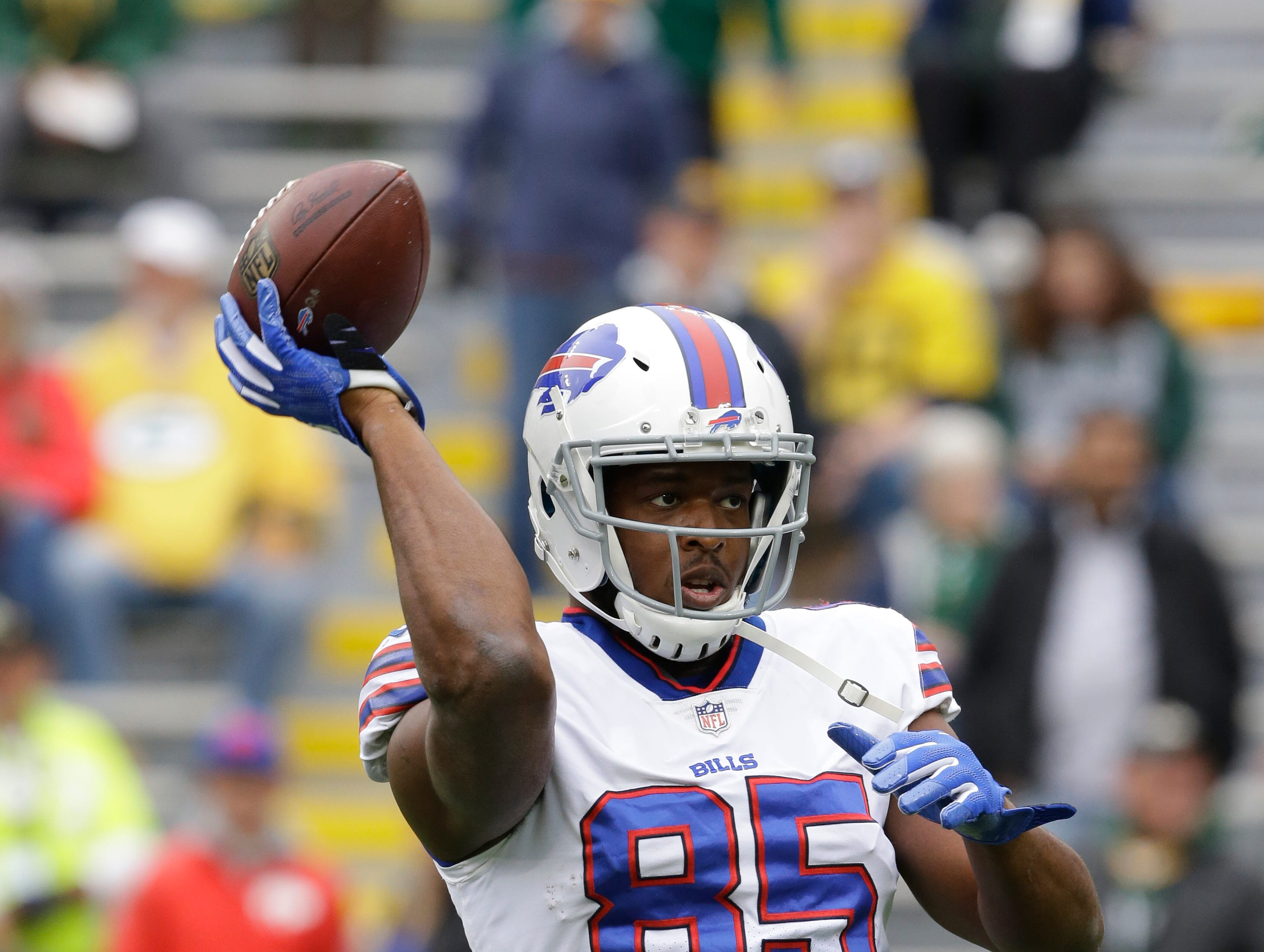 Buffalo Bills' Charles Clay warms up before an NFL football game against the Green Bay Packers Sunday.