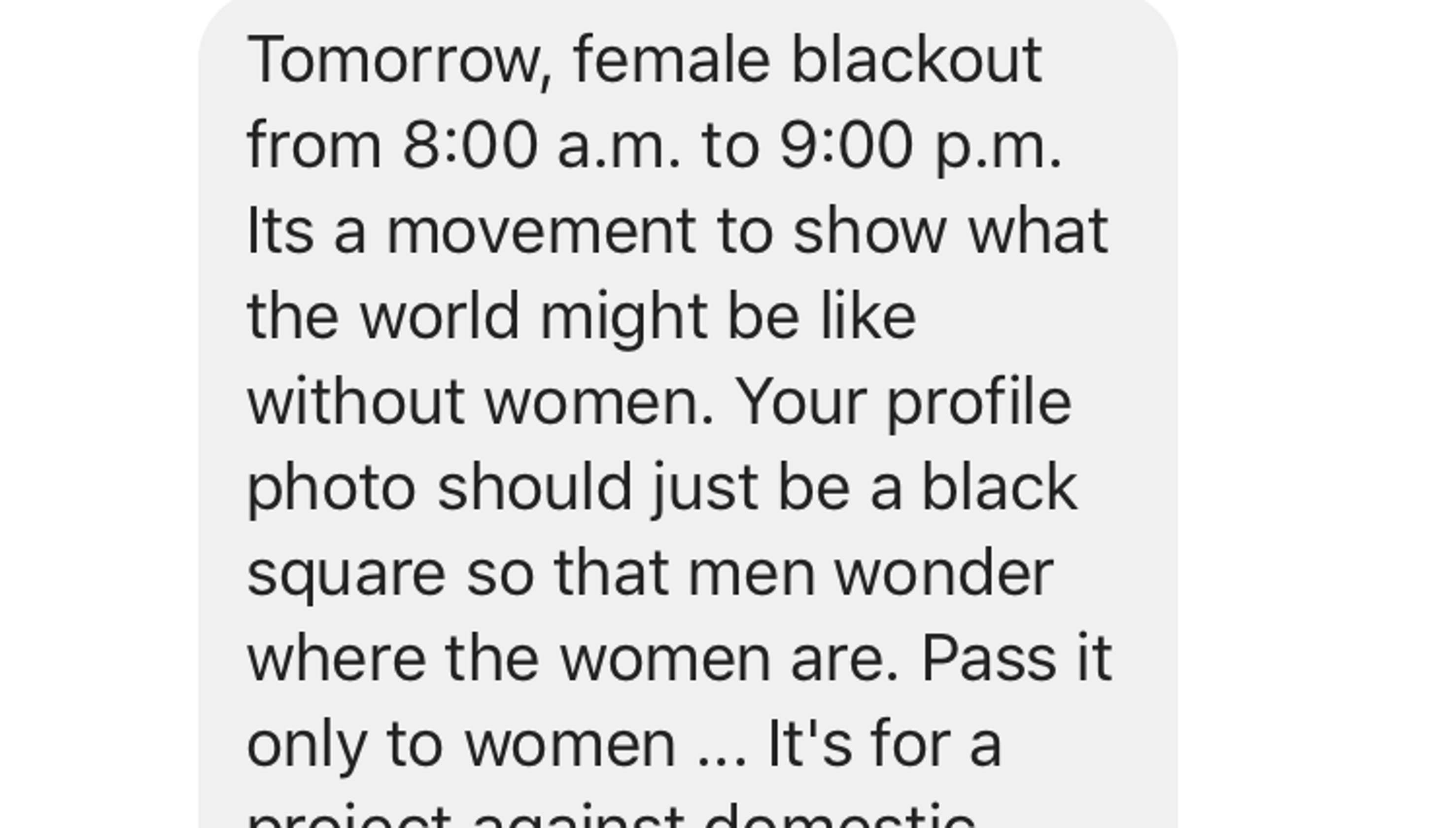 Female blackout on Facebook Sunday protesting domestic violence