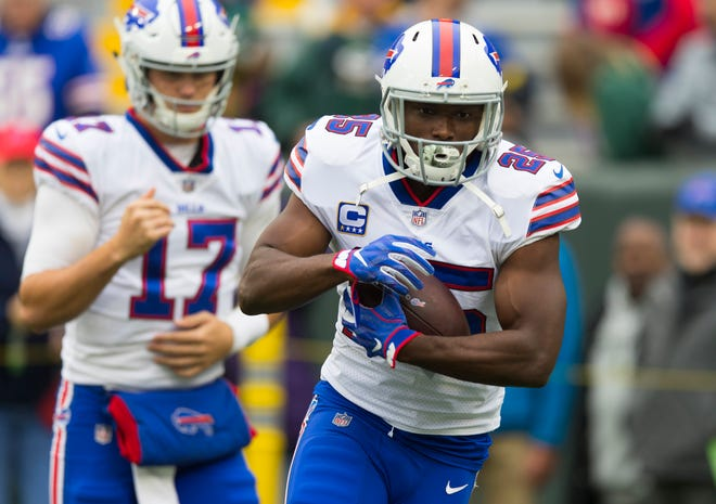 Buffalo Bills running back LeSean McCoy (25) carries the football during warmups before a game against the Green Bay Packers at Lambeau Field.