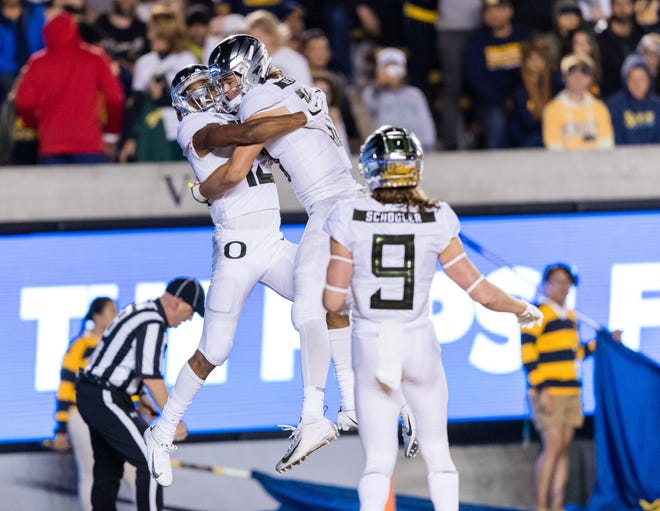 Sep 29, 2018; Berkeley, CA, USA; Oregon Ducks wide receiver Dillon Mitchell (13) reacts after scoring a touchdown against the California Golden Bears in the second quarter at California Memorial Stadium. Mandatory Credit: John Hefti-USA TODAY Sports