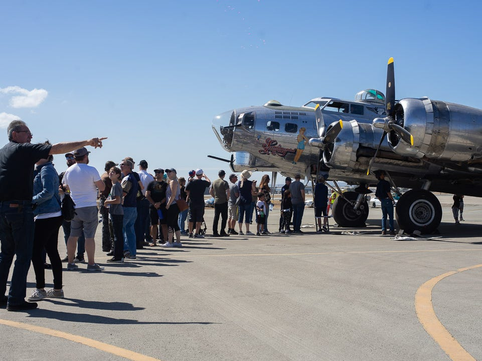 People waiting for a tour of the B-17 WarBird during the California International Airshow Salinas at the Salinas Municipal Airport on Saturday, September 29, 2018.