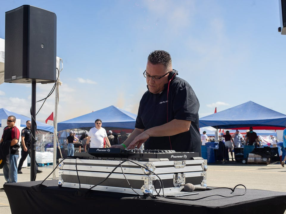 DJ D-Ram playing music for the attendees during the California International Airshow Salinas at the Salinas Municipal Aiport on Saturday, September 29, 2018.