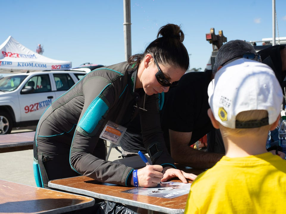 The Sky Diving team signing autographs during the California International Airshow Salinas at the Salinas Municipal Aiport on Saturday, September 29, 2018.