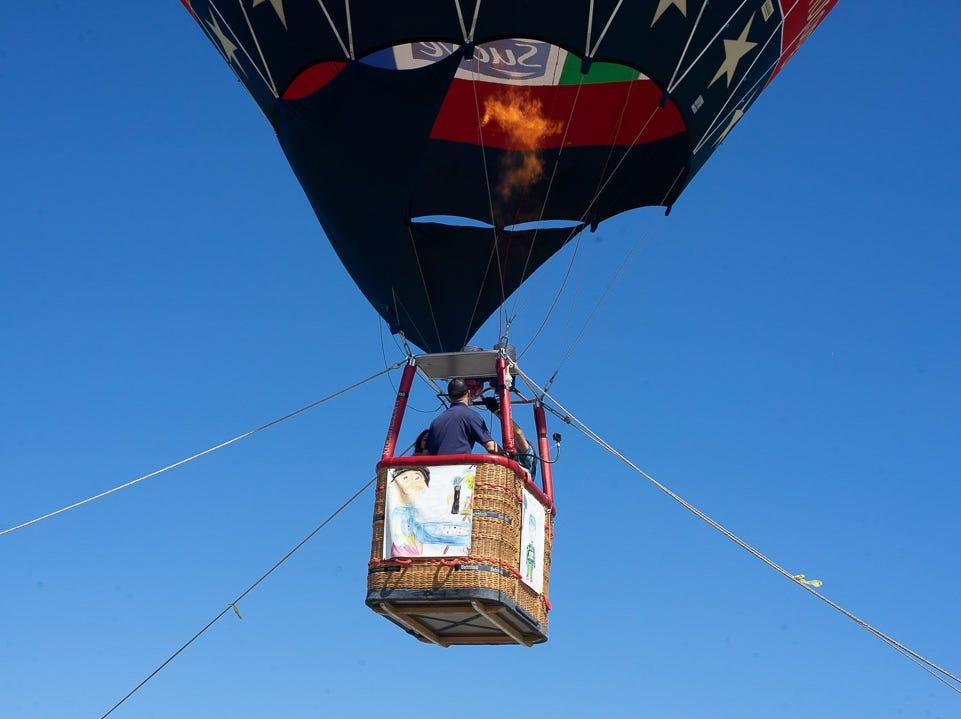 Hot air balloon demonstration during the California International Airshow Salinas at the Salinas Municipal Aiport on Saturday, September 29, 201