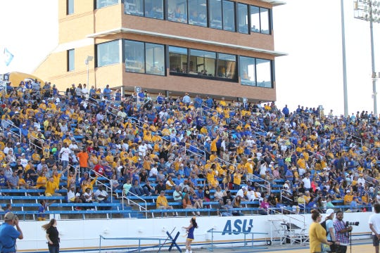 The Angelo State University football fans cheer on the Rams during  a Lone Star Conference showdown with Tarleton State at LeGrand Stadium at 1st Community Credit Union Field on Saturday, Sept. 29, 2018.