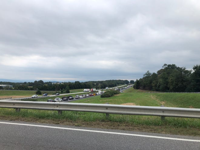 Southbound lanes of Interstate 81 closed just after Weyers Cave exit on Sept. 30, 2018.