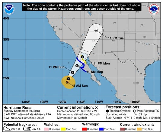 Hurricane Rosa was headed northward toward Baja California on Sunday. It was expected to spread rainstorms into the U.S. Southwest for several days, according to the National Weather Service.