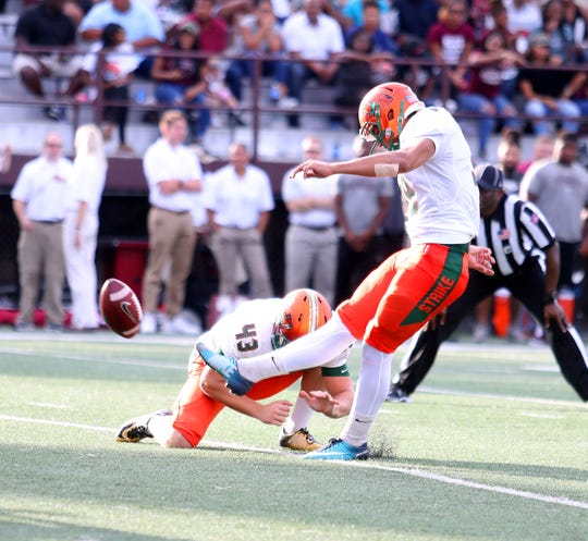 FAMU kicker Yahia Aly connects on a field goal.