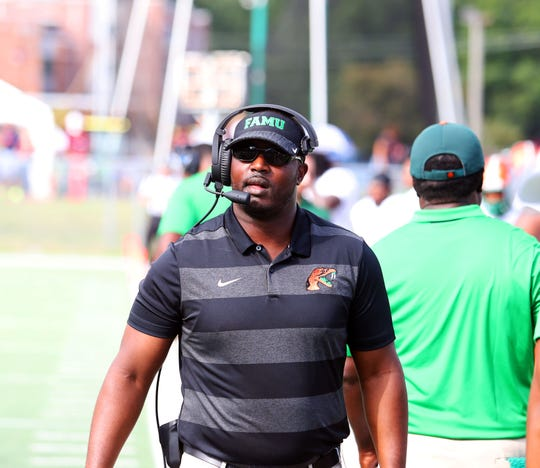 FAMU head coach Willie Simmons looks on as his Rattlers piled up points on North Carolina Central.