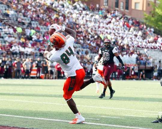 FAMU's Chad Hunter accounted for three touchdown passes against North Carolina Central. The Rattlers won 55-14.