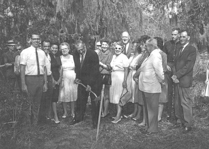 C. Carroll Otto is recognized as the founder of Riverside Theatre.  Carroll is pictured on the right, in the white jacket, at the 1968 ground breaking for the Vero Beach Community Theatre, which later became Riverside Theatre.  The City of Vero Beach was persuaded to lease the Vero Beach Theatre Guild some vacant land in Riverside Park on the barrier island. In 1968, ground was broken for a rehearsal hall with room to build sets and store props.