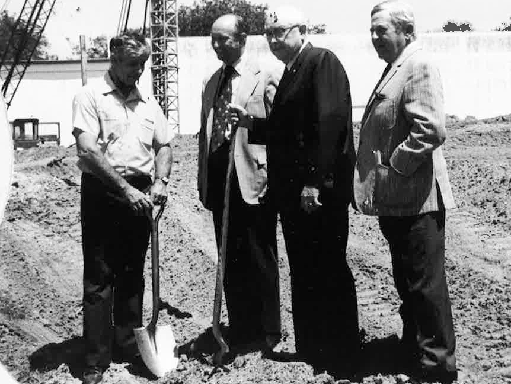The Vero Beach Community Theatre Trust Board was established in the late 1960s. It took five years to raise the $1.5 million in private donations needed to build the theater.  C. Carrol Otto, pictured on the far right, at the construction site in 1972.