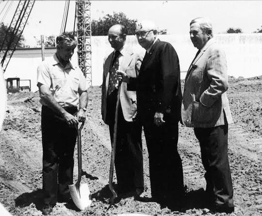 The Vero Beach Community Theatre Trust Board was established in the late 1960s. It took five years to raise the $1.5 million in private donations needed to build the theater.  C. Carroll Otto, pictured on the far right, at the construction site in 1972.