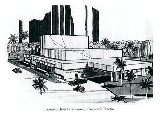 Original architect's drawing of the Vero Beach Community Theatre, which later became Riverside Theatre.