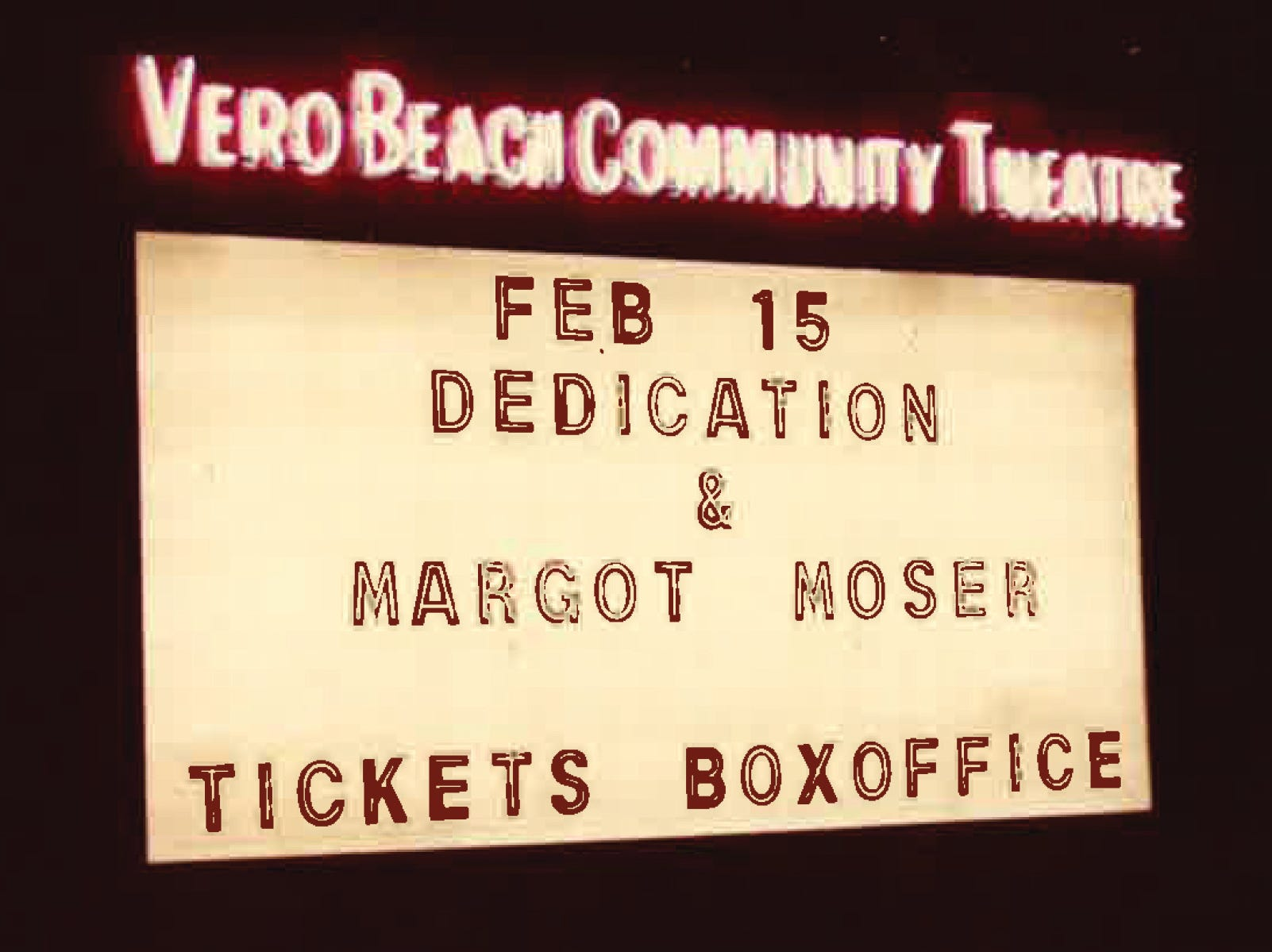 "An old Vero Beach Community Theatre marquee.  C. Carroll Otto is recognized as the founder of Riverside Theatre. When Otto came to Vero Beach to retire and play golf in 1962, he found a group of amateur performers and decided Vero Beach was in need of a theater. On Nov. 7, 1973, a Vero Beach Theatre Guild production of ""Tom Jones"" opened. The 600 seats were filled because that night was the fulfillment of a dream for many in attendance."